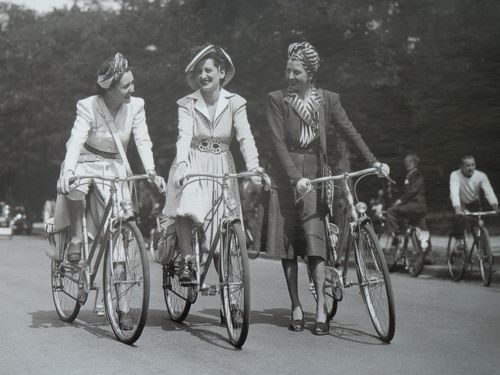 1940s Paris Women on Bicycles