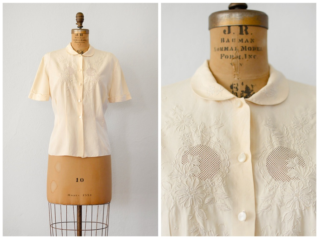 ➸ new 1940s vintage SIMPLE PLEASURE blouse | http://bit.ly/1JbV01Z