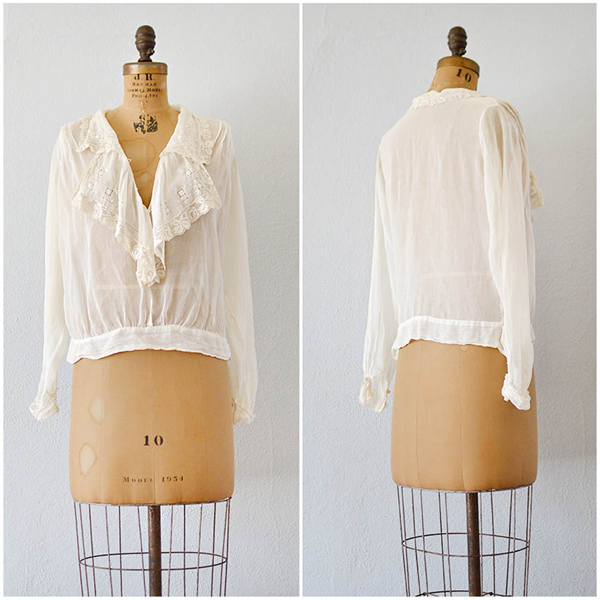 TWEET_antique1910sedwardianrufflenecklineblouse