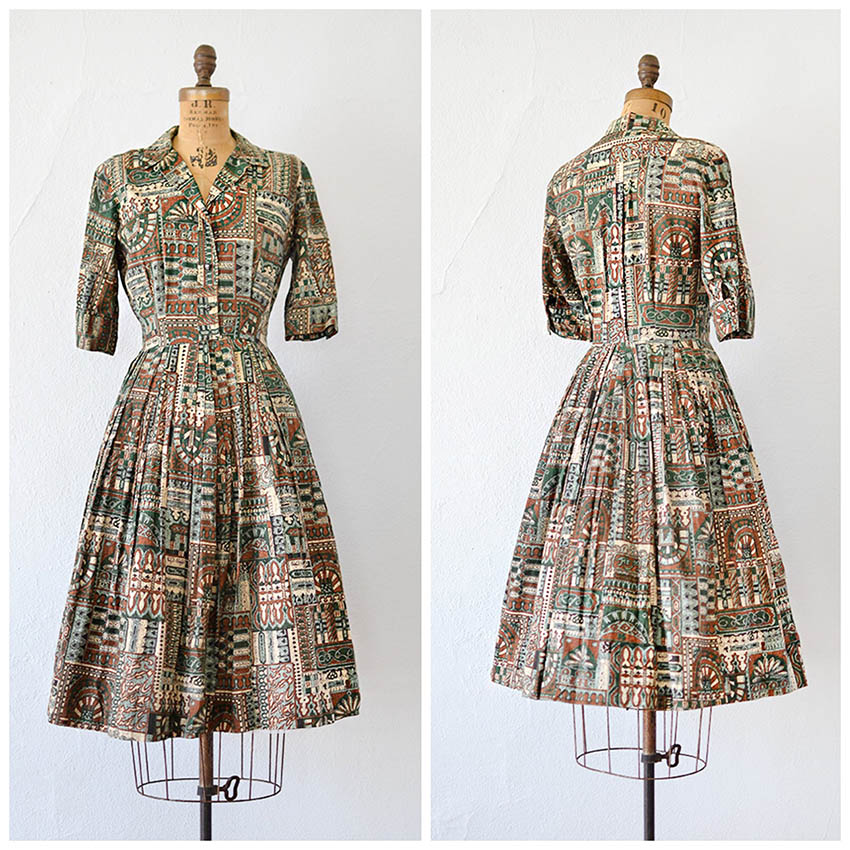 TWEET_vintage1950sgreenbrownethnicprintdress