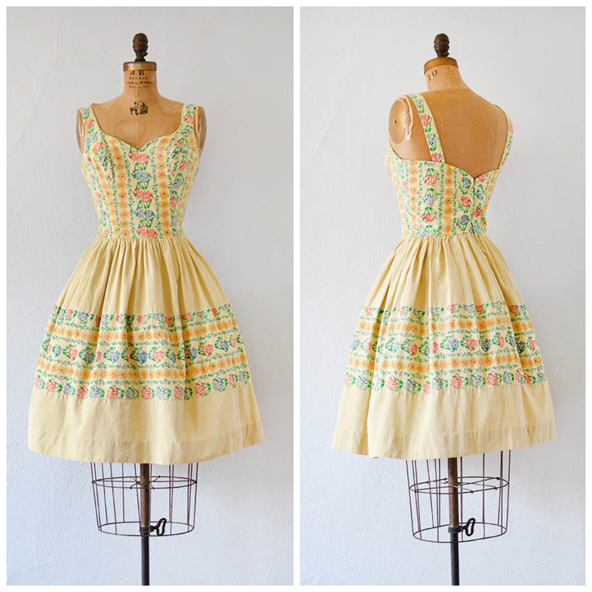 TWEET_vintage1960syellowfloralprintsummerdress