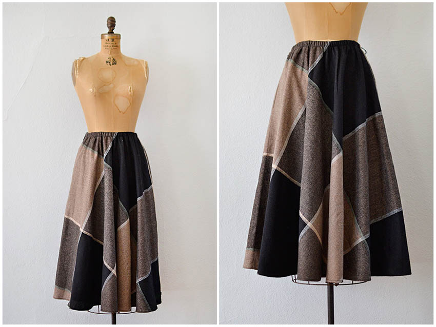 Vintage 1980s plaid skirt
