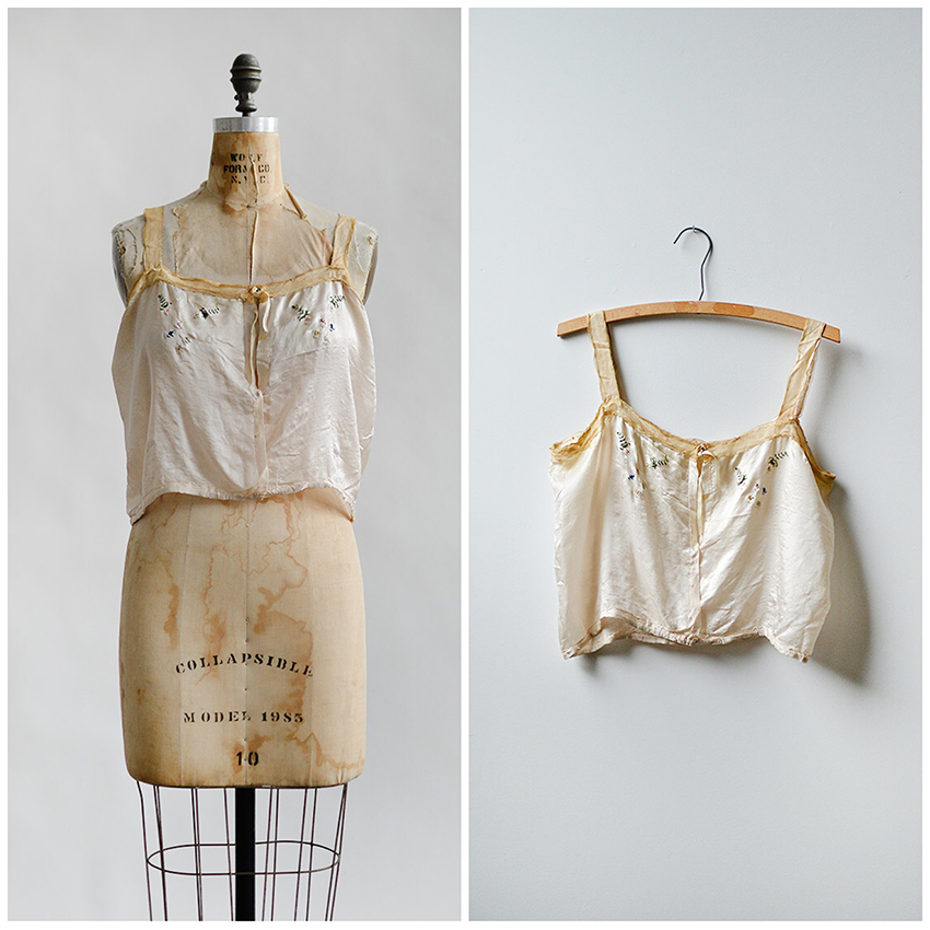antique 1910s cream silk embroidered camisole