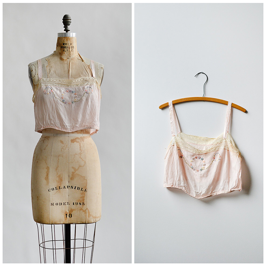 vintage 1910s pale pink silk embroidered camisole