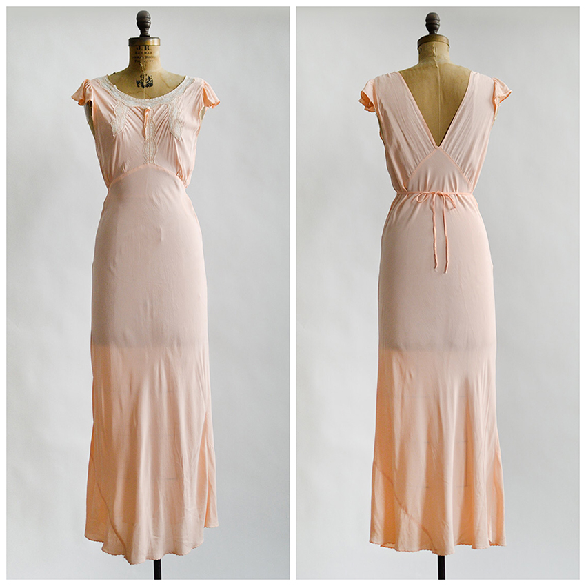vintage 1930s pale peach rayon lace insert gown