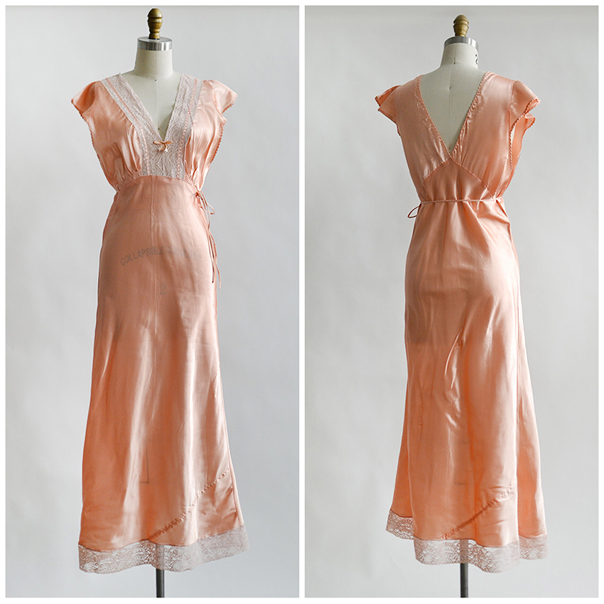 vintage 1930s peach satin nightgown with lace bodice