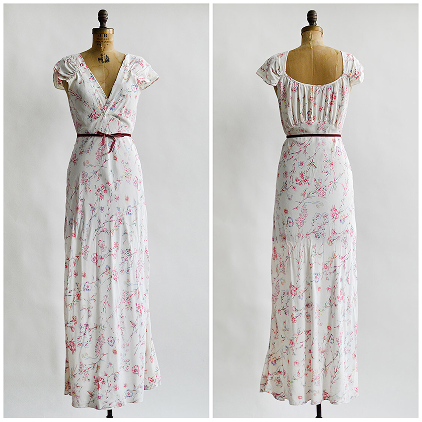 vintage 1930s white rayon floral print nightgown