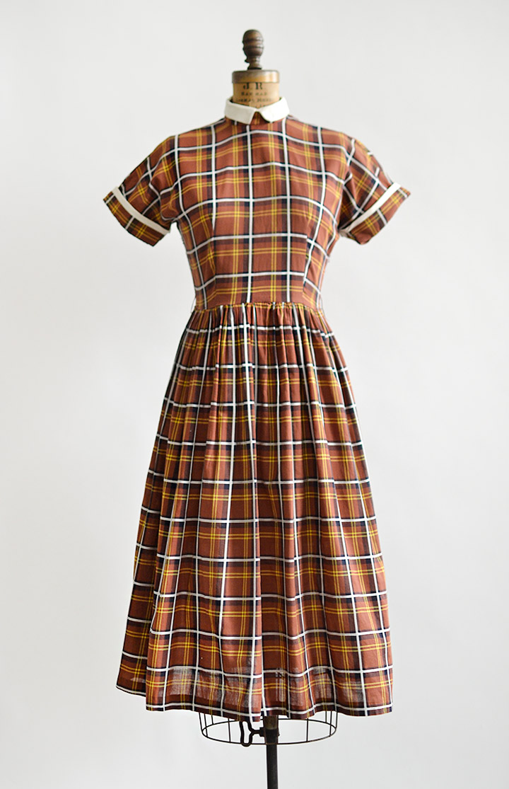 vintage1950sbrownplaidschooldress