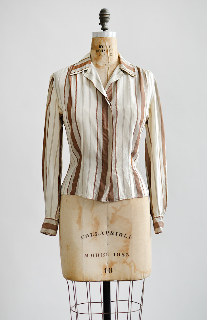 vintage1950slightbrownstripesilkblouse