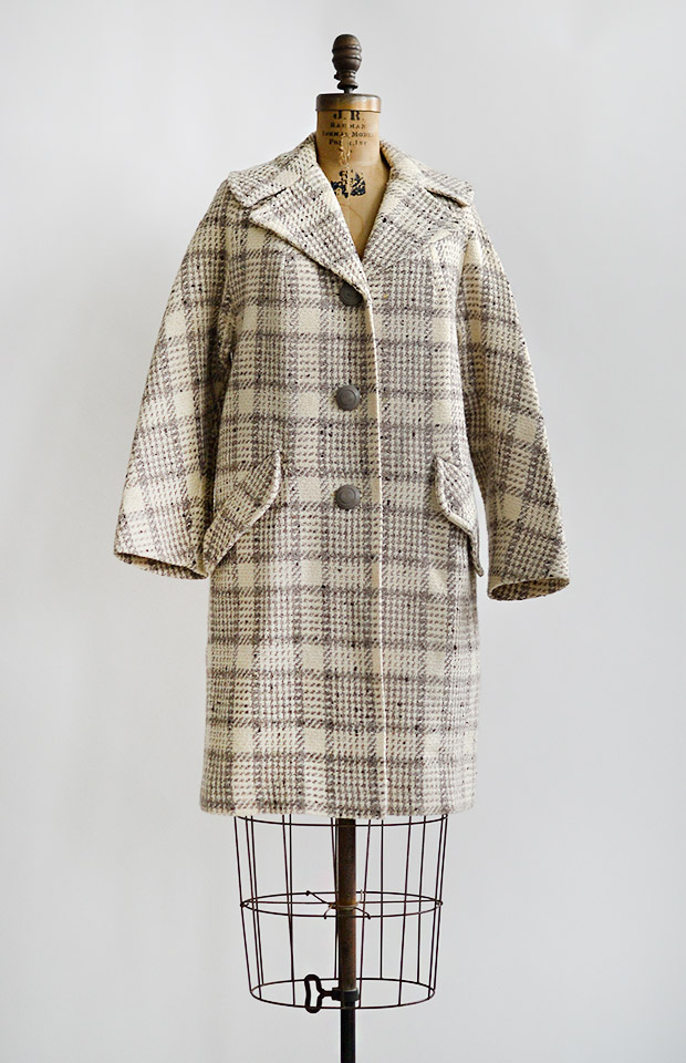 vintage1960slightcreamgreyplaidcoat