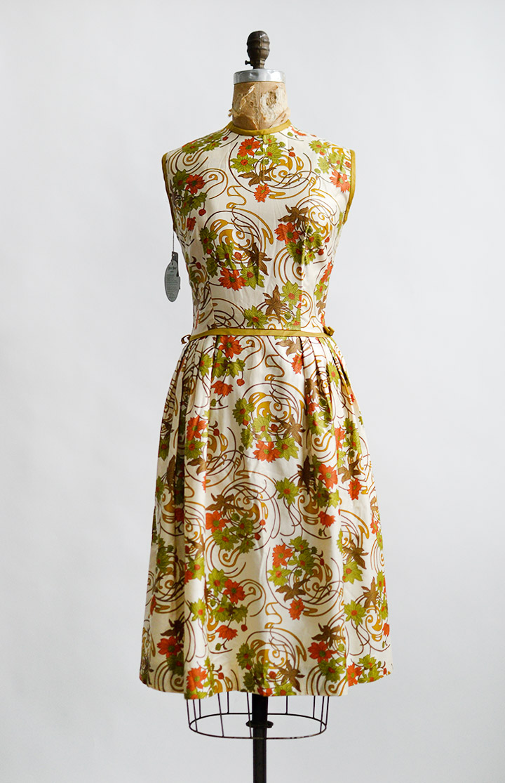 vintage1960sorangegreenswirlprintdress
