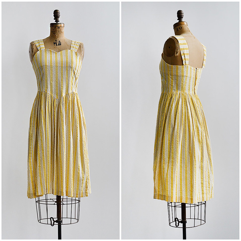 TWEET_vintage1980syellowstripedseersuckersundress