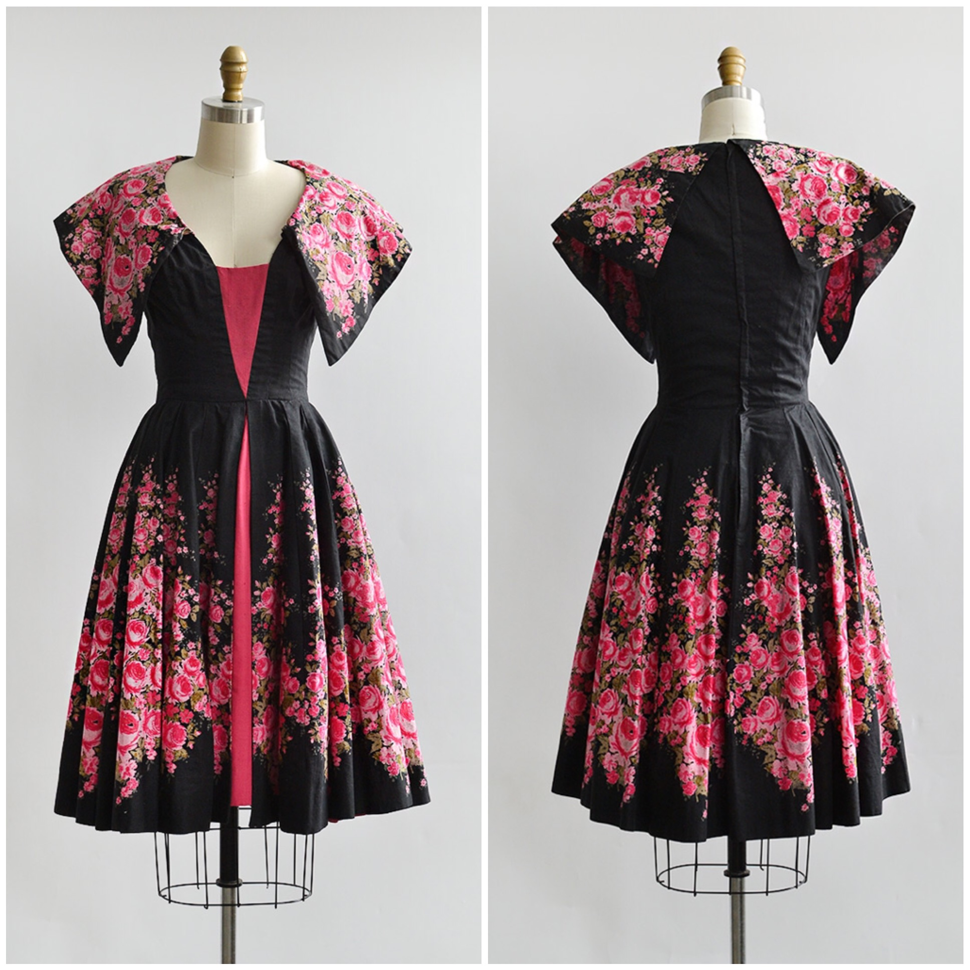 TWEET_vintage1950sredpinkpanelroseprintdress
