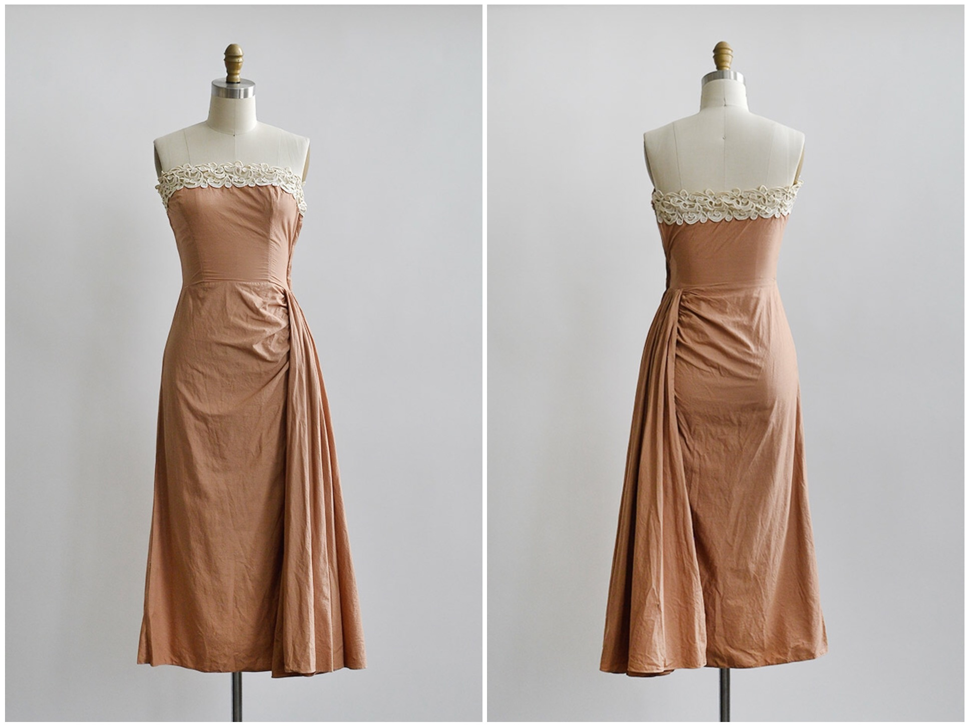 TWEET_vintage1950speachhipdrapestraplessdress