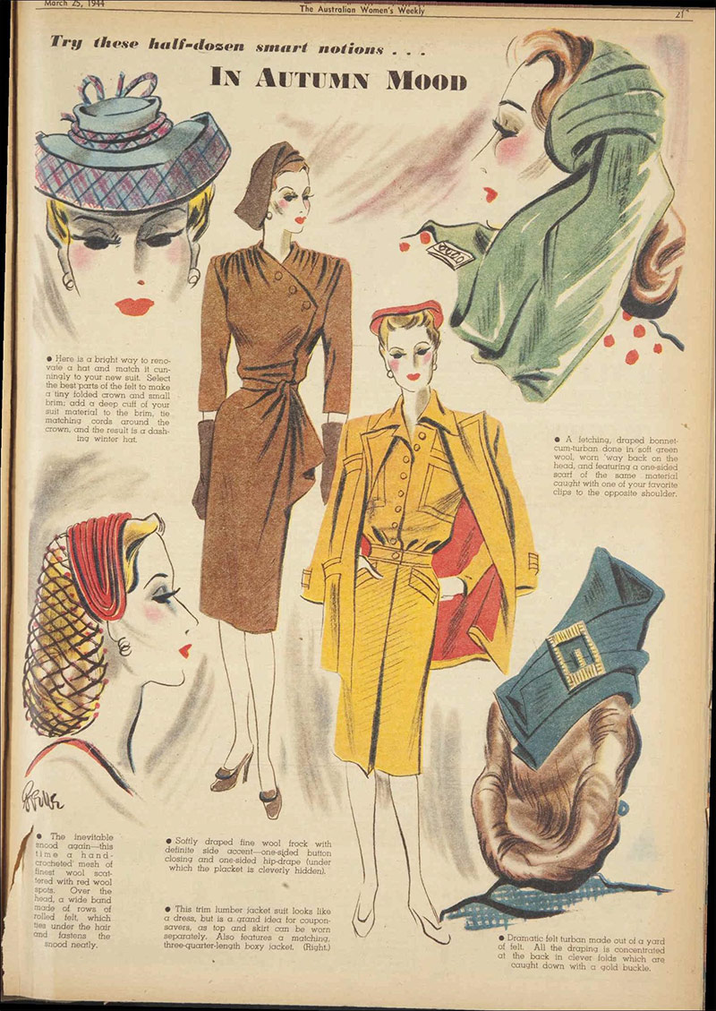 Vintage 1944 Autumn Hats