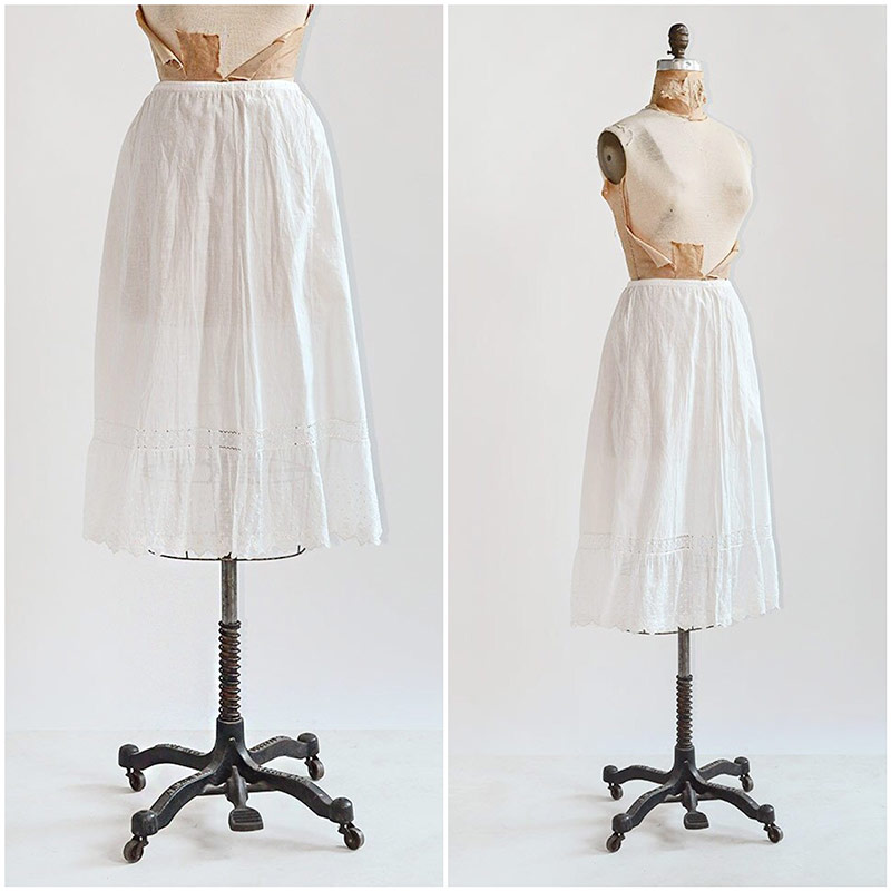 antique 1910s lace midi petticoat skirt